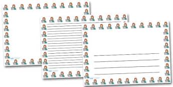 Woman and Computer Landscape Page Borders- Landscape Page Borders - Page border, border, writing template, writing aid, writing frame, a4 border, template, templates, landscape