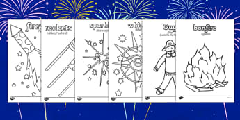 Bonfire Night Colouring Sheets Polish Translation - polish, bonfire night