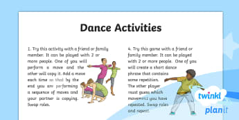 PlanIt PE Year 4 Dance: Water Home Learning Tasks - PE, physical education, exercise, Y4, year 4, LKS2, key stage 2, unison, canon, repetition, call and