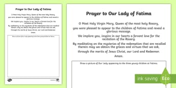Prayer to Our Lady of Fatima Activity Sheet - Our Lady, Fatima, Mary, apparition, prayer, activity, religion, christianity,Irish, worksheet