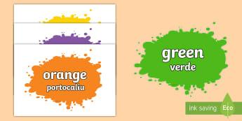 Colour Names On Splats Romanian Translation - Romanian/English - colour, colour names , black, white, red, green, blue, yellow, orange, colour splatts, purple, pink,