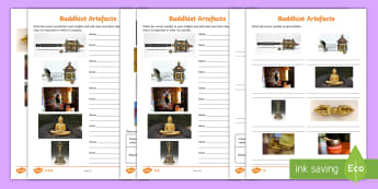 Buddhist Artefacts Differentiated Activity Sheets - Buddhism, World Religions, Special Objects, Prayer Wheel, Buddha, Lotus Flower,Scottish