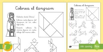 Ficha de actividad: Colorea el 'Tangram' - figuras planas, triángulo, cuadrado, paralelogramo, china, colorear, pintar, mates, matemáticas,,A