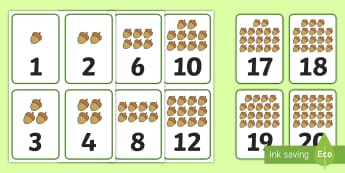Number of Nuts to 20 Number Cards - Number, numeral, recognition, matching, quantity, cards, games, counting, number ordering