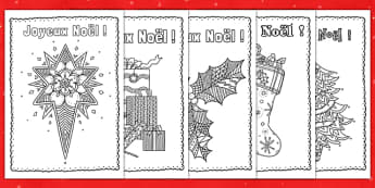 Mindfulness Colouring Christmas Cards French - french, mindfulness, colouring, christmas, cards