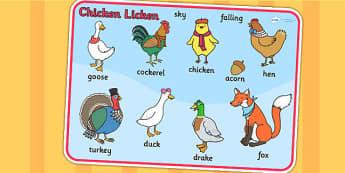 Chicken Licken Word Mat - word mat, keywords, visual aid, stories