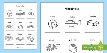 Materials Activity Sheet - Materials Activity Sheet - materials, materilas, textures, texture, worksheet, activity shet, sheet,