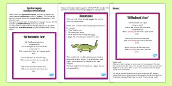 Figurative Language Activity Reference Sheet Onomatopoeia