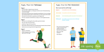 Rugby: Place Kick Techniques Card - Rugby, KS3, Kicking, Place kick, technique, peer and self assessment