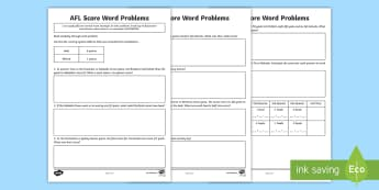 AFL Score Word Problems Activity Sheet - ACMNA076, mental multiplication, mental math, word problems, math problems, AFL, AFL maths, calculat