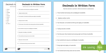 Decimals in Written Form Activity Sheet - Decimals, written form, expanded form, standard form, place value,