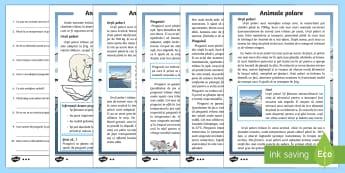 Animale polare - Fișă  diferențiată de evaluare a competenței de lectură - iarna, poli, animale polare, animale la poli, polar, fișă de lectură, citire, text informativ, ro