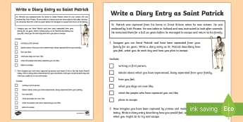 Saint Patrick Diary Writing Activity Sheet - World Around Us KS2 - Northern Ireland, St. Patrick, St. Patrick's Day, Ireland, Diary Entry, writi