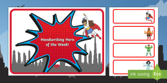 Handwriting Hero of the Week Display Pack - Star of the Week Stage A3 Poster - star of the week, A3 poster, poster, star of the week poster, cla