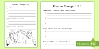Climate Change 3-2-1 Activity Sheet - Climate Change, Fossil Fuels, Greenhouse effect, Global Warming, Earth's Surface, worksheet