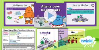 Twinkl Move - Year 1 Dance: Starry Skies Lesson 5 - Aliens Love Underpants - Dance Starry Skies, Alien, Space, Spaceship, PE, Physical Education, Y1, Year 1, Key Stage 1, KS1, M