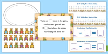 How Many Bears Subtraction Game up to 20 Activity -  How Many Bears? Subtraction Game Up To 20 - Using quantities and objects, add and subtract two sing