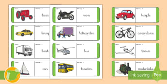 Tarjetas de buscar y emparejar: Los transportes - Inglés - transport, lengua extranjera, inglés, english, ,Spanish-translation