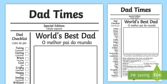 Father's Day Newspaper Gift Card Template English/Portuguese - Father's Day Newspaper Card Template - fathers day, newspaper, card, newpaper, tempelte, templet, e