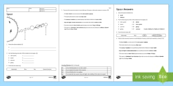 KS3 Space Homework Activity Sheet