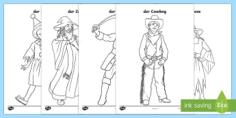 Carnival Colouring Pages - Carnival, Fasching, Costumes, Fancy Dress, german vocabulary, events