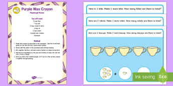 Toys Playdough Recipe and Mat Pack - Toys, addition, adding, play dough, wax crayon, playdough