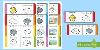 Karty Ja mam, Kto ma? Pogoda i pory roku - pogoda, pory, roku, zima, lato, słońce, chmury, deszcz, śnieg, prognoza, pogody, atmosferyczne, z