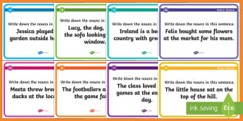 Identifying Nouns Blether Stations - CfE Literacy, nouns, blether stations, grammar, first level, SPaG, names, answers, word types, group
