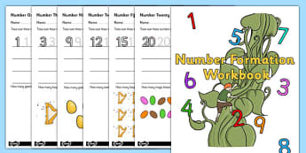 Jack And The Beanstalk Number Formation Workbook - workbooks, overwriting
