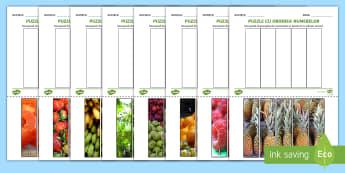 Puzzle pe tema fructelor pentru ordonarea numerelor Activitate - fructe, legume, numerație, numără crescător, 0-5, numerele, Romanian