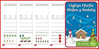 Llyfryn Ffurfio Rhifau y Nadolig (0 9) -Welsh - nadolig, rhifau, ffurfio, mathemateg,Welsh - nadolig, rhifau, ffurfio, mathemateg,Welsh