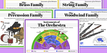 Orchestra Instruments Poster Pack - orchestra, instruments, poster, pack, display
