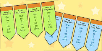 Phase 2 Tricky Word Bookmarks - Bookmark, Phase 2, phase two, Tricky words, writing aid, DfES Letters and Sounds, Letters and sounds, bookmark template, gift, present, reward, achievement