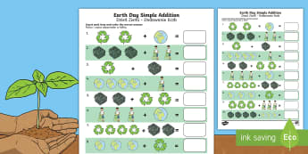 Earth Day Simple Addition Activity Sheet English/Polish - Earth Day, simple addition, Pre-K adding, Kindergarten adding, addition skills , adding, addition, w