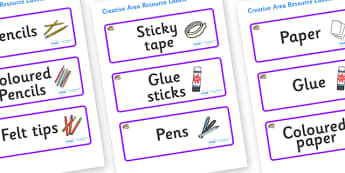 Oyster Themed Editable Creative Area Resource Labels - Themed creative resource labels, Label template, Resource Label, Name Labels, Editable Labels, Drawer Labels, KS1 Labels, Foundation Labels, Foundation Stage Labels