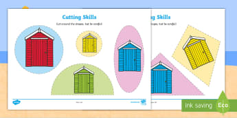 Beach Hut Size Ordering  Cut-Outs - sea, seaside, summer, cutting, scissors, fine, motor, skills