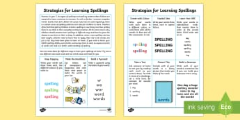 Strategies for Learning Spellings Activity Sheet - ks1, english, spag, spellings, strategy, method, how to, learn, spell, worksheet, adult guidance, ad