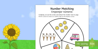 Summer Themed Number Matching Pegs Activity English/Spanish  - Number Matching Pegs Activity Summer Themed - summer, matching, pegs, summertime, Timw, mathching,
