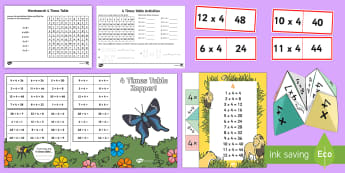 4 Times Table - Maths Resources, maths, numeracy, ks1, times, multiplication, 4, four,