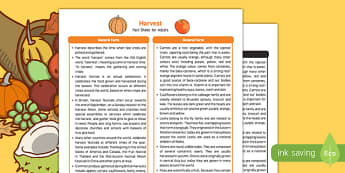 Harvest Fact Sheet for Adults - EYFS, Early Years, KS1, harvest festival, autumn, fruit, vegetables, scarecrow