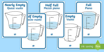 Capacity Display Posters (Jugs) English/Italian - capacity, jugs, measurement, Years 1-3, maths, EAL