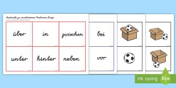 Ausdrücke zu verschiedenen Positionen Bingo/Lotto Spiel - Lottospiel, Präpositionen, Positionen, Lage, Stellung, Wörter, Deutsch, Mathe, einfache Sätze, Dr