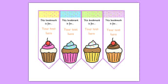 Cupcake Editable Bookmarks - cakes, cooking, books, read, buns
