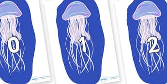 Numbers 0-100 on Jellyfish - 0-100, foundation stage numeracy, Number recognition, Number flashcards, counting, number frieze, Display numbers, number posters