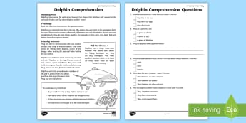 Dolphin Comprehension Activity Sheet - amazing fact august, animals, mammals, KS1, amazing fact, reading activity, worksheet
