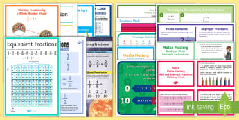 UKS2 Fractions Working Wall Display Pack - maths display, classroom display, numerator, denominator, common multiples, common factors, adding f