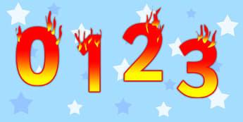 Editable Display Numbers 0-20 Fire - editable, display, numbers