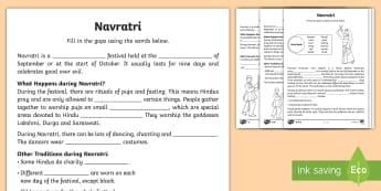 Navratri Differentiated Activity Sheets - Durga Puja, Hinduism, Hindu, Festival, Celebration.