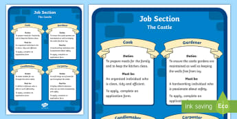 KS1 Castle Job Adverts Posters - Career, Motivation, Ambition, Interview, newspaper, positions