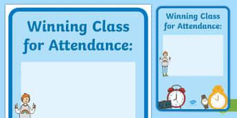 Winning Class Attendance Display Poster - class scores, class attendance, Atendence, winning lass, attending, poster, postre, Improving